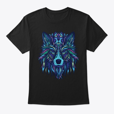 Mandala Pattern Hippie Tribal Wolf Gift Black T-Shirt Front