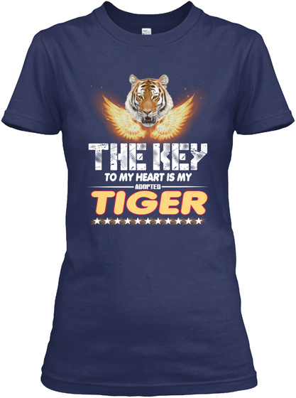 Tiger Key In My Heart Navy T-Shirt Front