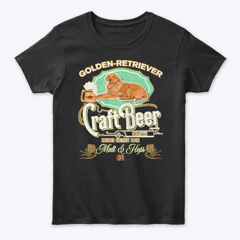Golden Retriever Gifts Dog Beer Lover Black Camiseta Front