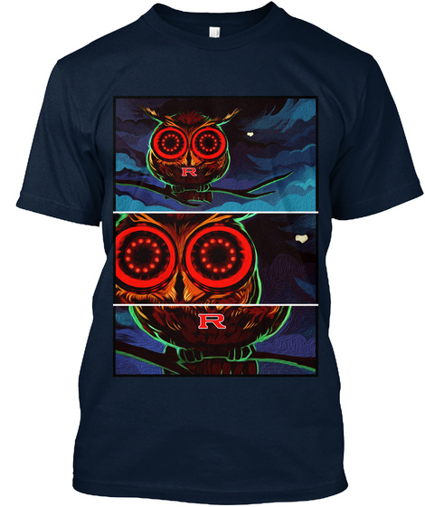 R Owl Shirts By @Skylinefactory New Navy T-Shirt Front