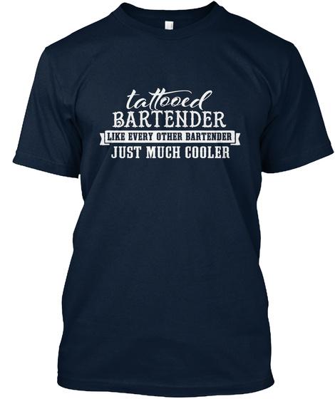 Tshirt Tattooed Bartender New Navy T-Shirt Front