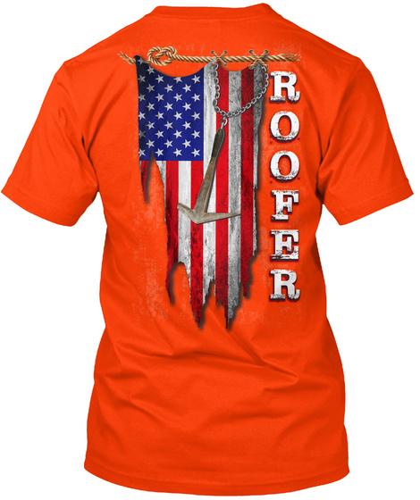 Proud Roofer Orange T-Shirt Back