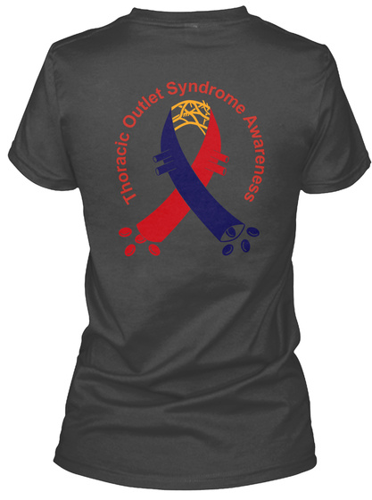 Thoracic Outlet Syndrome Awareness Black T-Shirt Back