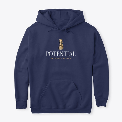 Potential Becoming Better Chess Navy T-Shirt Front