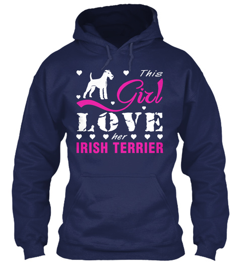 Irish Terrier Gift Shirt. Navy T-Shirt Front