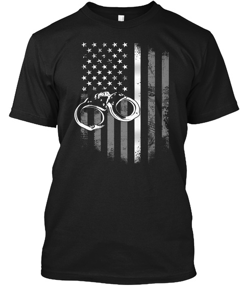 Correctional Officer Thin Silver Line Black T-Shirt Front