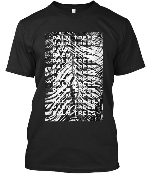 Palm Trees Black T-Shirt Front