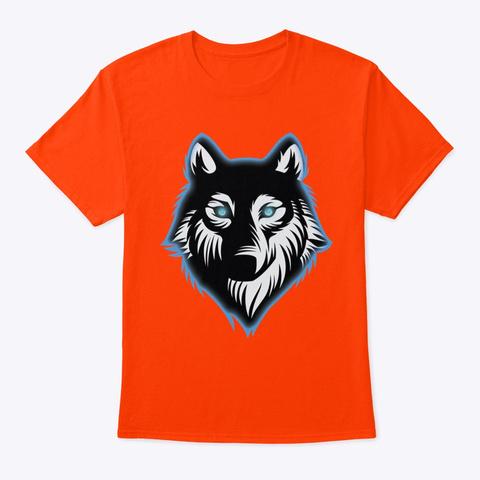 Wolf Artwork Tshirt Orange T-Shirt Front