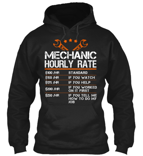 Mechanic Hourly Rate Black T-Shirt Front