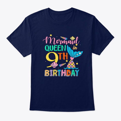 Mermaid Queen In 9th Birthday T Shirt Navy T-Shirt Front