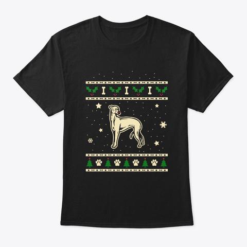 Christmas Greyhound Gift Black T-Shirt Front