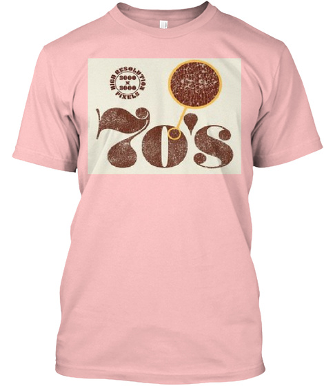 Classic 70's Tee For Summer  Pale Pink T-Shirt Front
