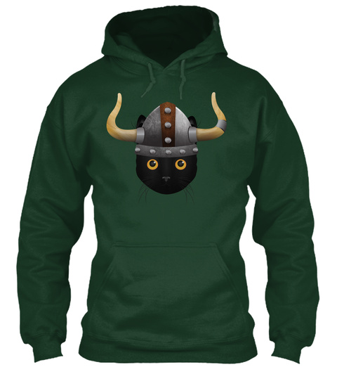 Viking Cat Forest Green T-Shirt Front