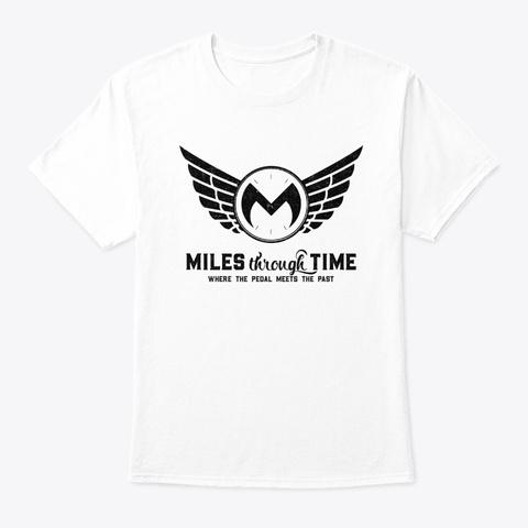 Miles Through Time Logo  (Black) White T-Shirt Front