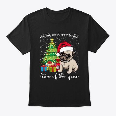 Pugdog With Christmas Tree Tshirt Black T-Shirt Front