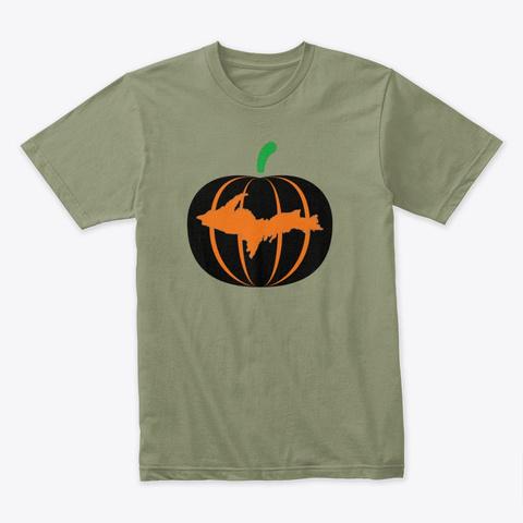 Yooper Halloween Pumpkin Light Olive T-Shirt Front