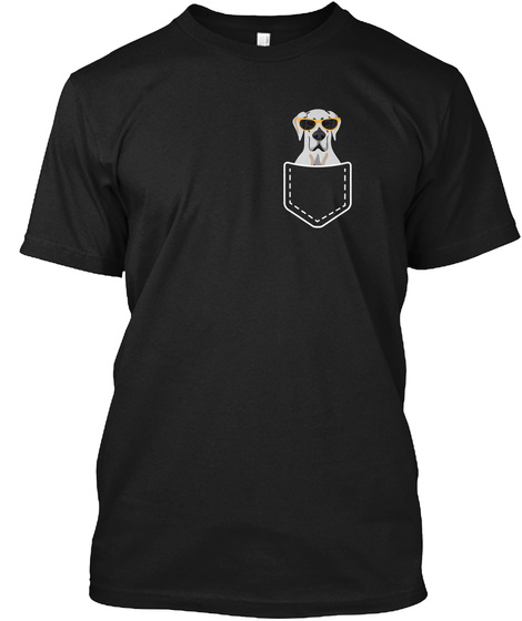 Dog In Your Pocket Great Dane With Glass Black T-Shirt Front