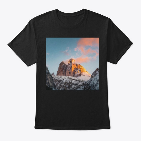 Snow Fall Pink Mountain Pink Sky Black T-Shirt Front