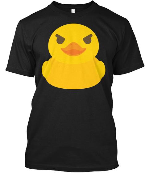 Rubber Duck Emoji Naughty Look Black T-Shirt Front