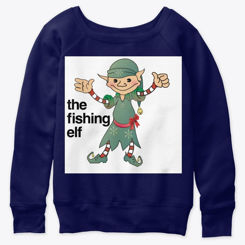 The Fishing Elf Navy  T-Shirt Front