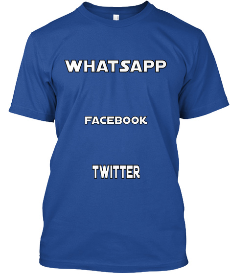 Whatsapp Facebook Twitter Deep Royal T-Shirt Front
