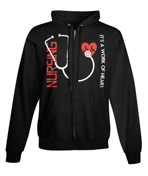 Nursing Its A Work Of Heart Black Kaos Front