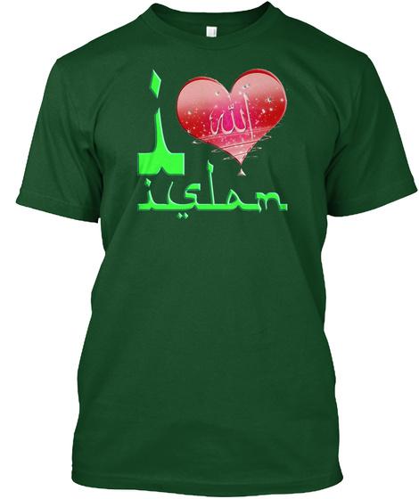 I Love Islam   Raglan Shirt Deep Forest T-Shirt Front