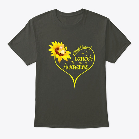Gold Ribbon Childhood Cancer Awareness  Smoke Gray T-Shirt Front