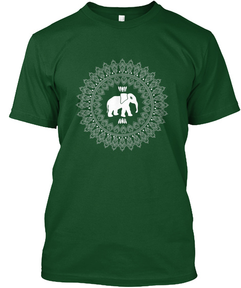 Elephant Mandala Graphic Tee Shirt Deep Forest T-Shirt Front