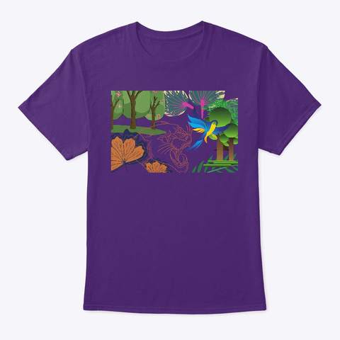 The Tiger Attacks The Parrot  Purple T-Shirt Front