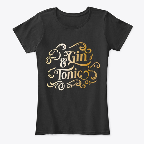 Gin And Tonic Black T-Shirt Front