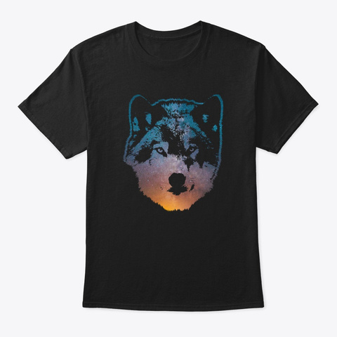 Space Wolf Black T-Shirt Front