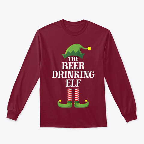 Beer Drinking Elf Matching Family Group Cardinal Red T-Shirt Front