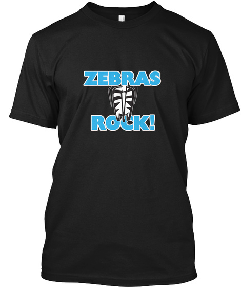 Zebras Rock! Black T-Shirt Front