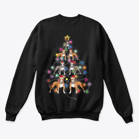 Funny Pitbull Christmas Light T Shirt Black T-Shirt Front