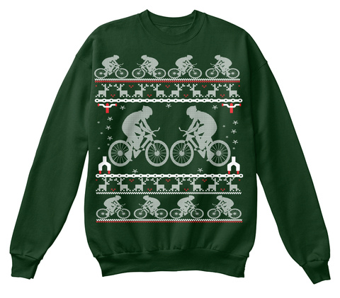 Cycling Ugly Christmas Sweatshirt  Deep Forest  T-Shirt Front