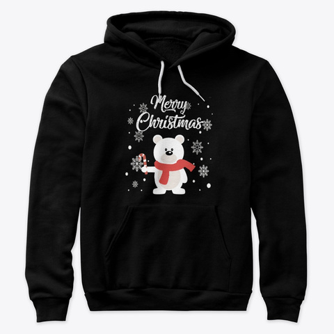 Merry Christmas Bear Holiday Sweater Tee Black T-Shirt Front