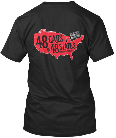 48 Cars In 48 States Vintage Black T-Shirt Back