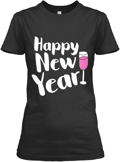 Happy New Year Black T-Shirt Front