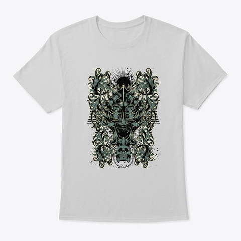 Gothic Skull Design   Awesome Goth Lover Light Steel T-Shirt Front