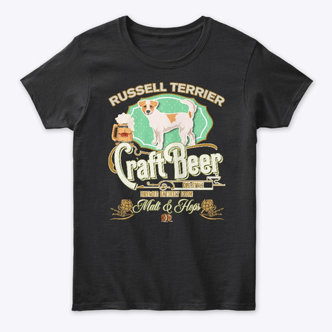 Russell Terrier Gifts Dog Beer Lover Black T-Shirt Front