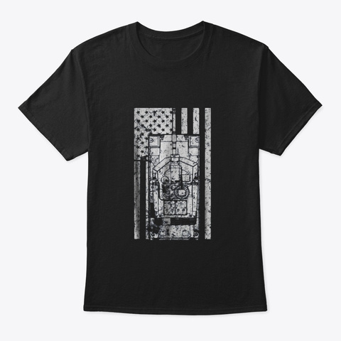 M1a1 Abrams Main Battle Tank Patriotic Black T-Shirt Front