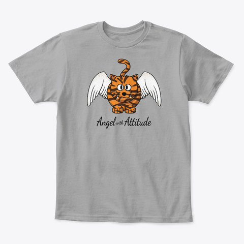 Funny Angel Tiger With Attitude Cat Light Heather Grey  T-Shirt Front