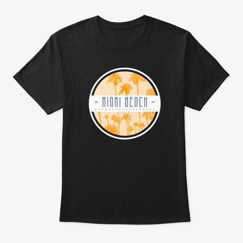 Miami Beach Palm Beach Retro 90's Shirt Black áo T-Shirt Front