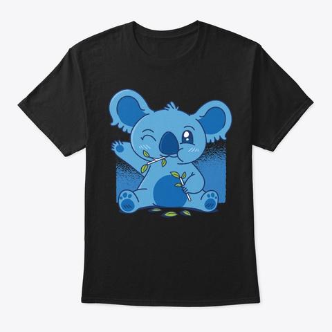 Lovely Blue Koala Eating Eucalyptus Black T-Shirt Front