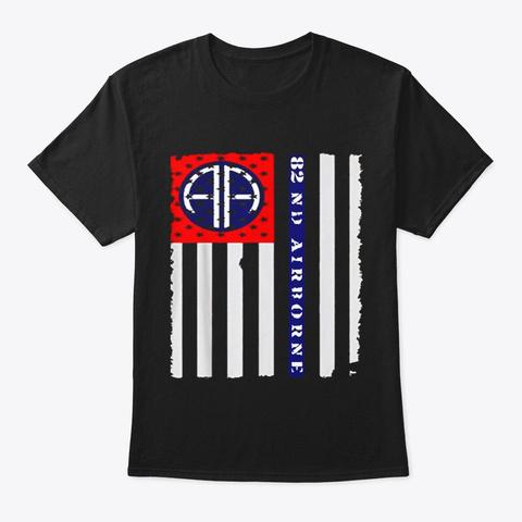 82nd Airborne Veteran Paratrooper Black T-Shirt Front