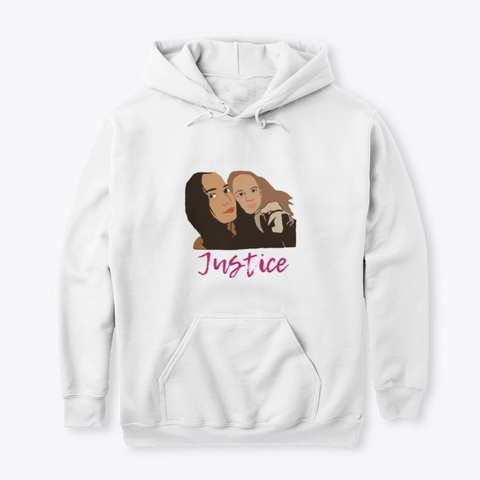 Angel And Maya Justice Hoodie White T-Shirt Front