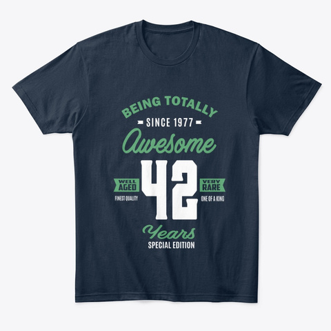 Awesome 42 Years New Navy T-Shirt Front