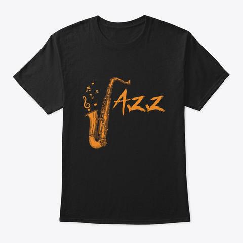 Saxophone Jazz Music Instrument Black T-Shirt Front
