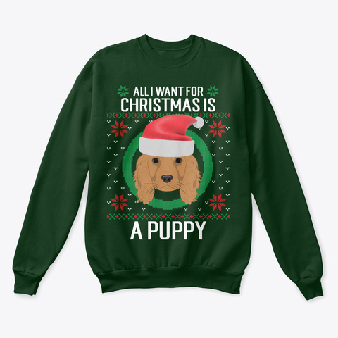 A Puppy For Christmas Ugly Apparel Deep Forest  T-Shirt Front